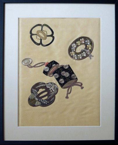 Silk embroidery Japan Meiji