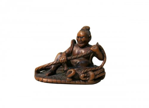 Wood Netsuke of a NIO - Japan XIXth century