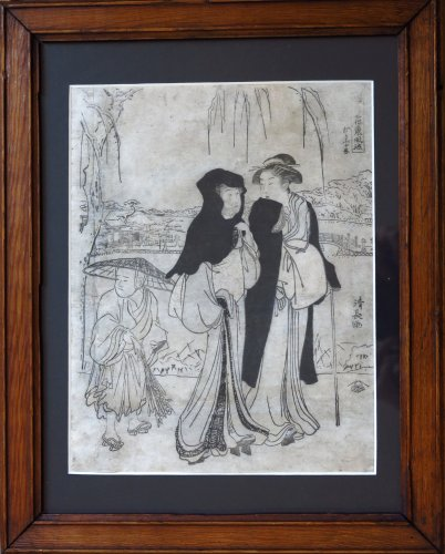 Print by Torii KIYONAGA (1752-1815) 2 ladies and a child Japan