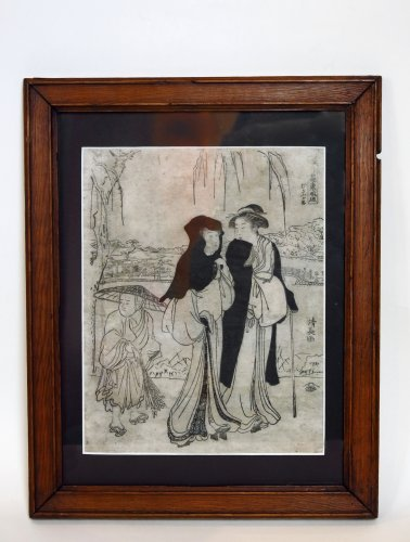 Print by Torii KIYONAGA (1752-1815) 2 ladies and a child Japan - Asian Art & Antiques Style