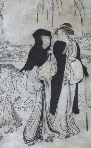 Asian Art & Antiques  - Print by Torii KIYONAGA (1752-1815) 2 ladies and a child Japan