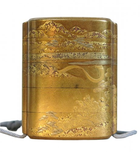 Gold japanese urushi lacquer Inro- Samouraï warriors - Japan EDO