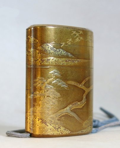 Gold japanese urushi lacquer Inro- Samouraï warriors - Japan EDO -
