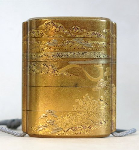18th century - Gold japanese urushi lacquer Inro- Samouraï warriors - Japan EDO