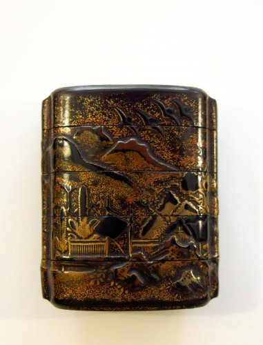 Asian Art & Antiques  - Inro Japanese lacquer urushi, landscape, rocks, pines Japan Edo