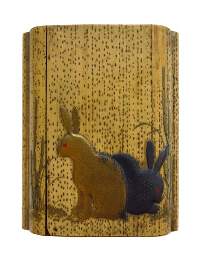 Inro bambou and japanese lacquer - rabitts with horsetails - Japan EDO