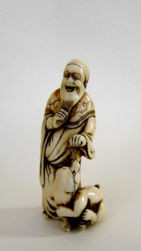 Netsuke, An old man and his dog, Japan Edo (1603-1868)  -