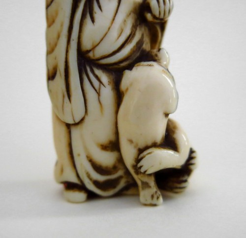 18th century - Netsuke, An old man and his dog, Japan Edo (1603-1868)
