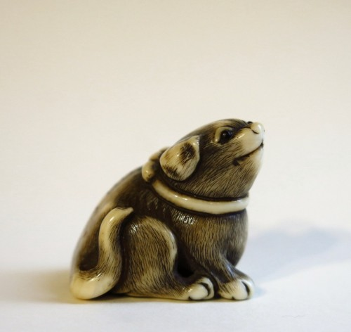 Antiquités - Netsuke of a small dog, Masatomo, Japan Edo 18th century