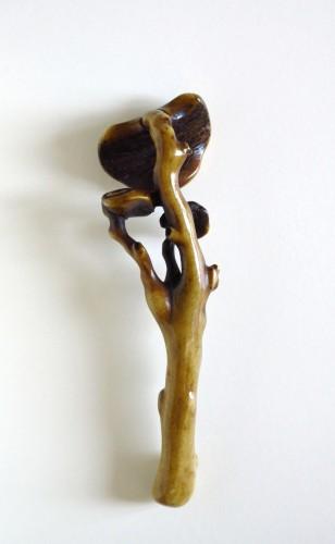 Netsuke Stag antler obi-hasami of reishi fungus Japan Edo -