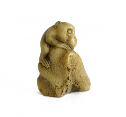 Netsuke,  A little monkey climbing on a rock, Japan Edo 19th century.