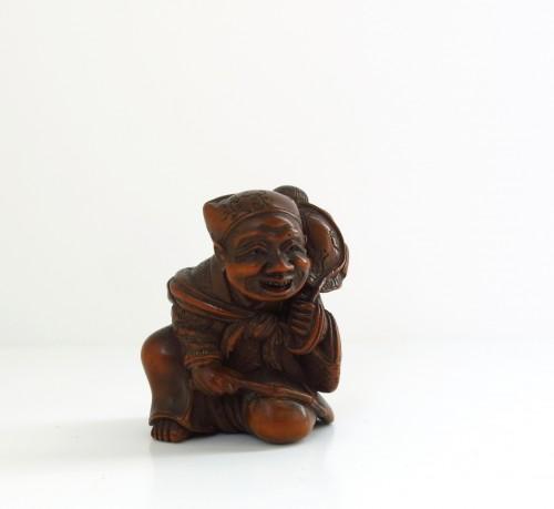 Netsuke By Shuosai. Sarumawashi, Japan Edo 19th centuy - Asian Art & Antiques Style