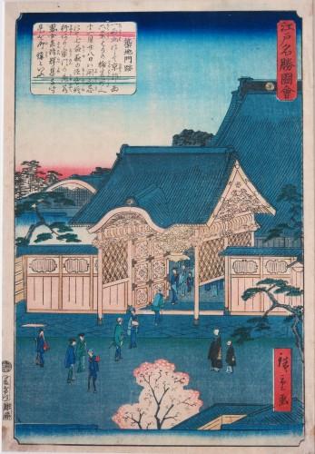 Print by Utaqawa Shigenobu,  Hiroshige II. The Tsukiji Monzeki temple