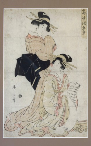 Print by EIZAN, Two women 'Oban bijinga' Japan EDO early 19th about 1