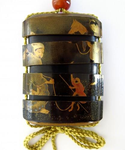 Japanese Togidashi lacquer of children 's games Inro . japan Edo  - Asian Art & Antiques Style