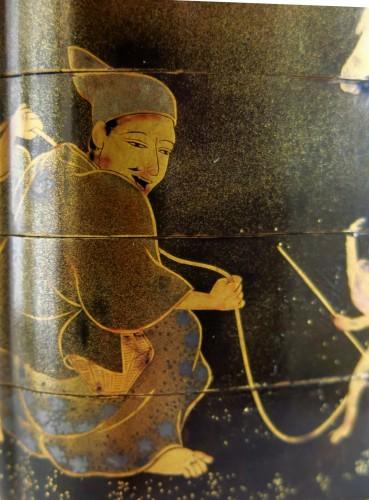 Japanese Togidashi lacquer of children 's games Inro . japan Edo  -
