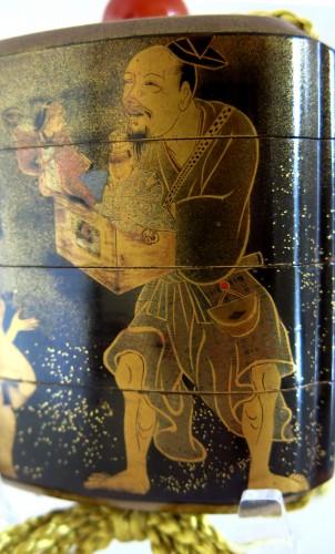 18th century - Japanese Togidashi lacquer of children 's games Inro . japan Edo