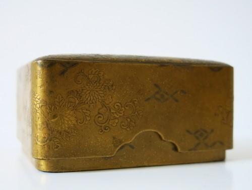 Kobako Small japanese urushi gold lacquer box. Japan Edo - Asian Art & Antiques Style