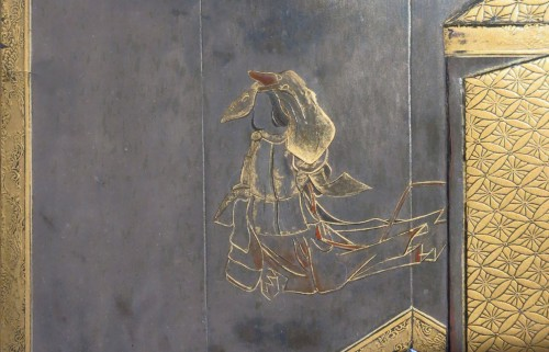 Asian Art & Antiques  - Suzuribako Japanese screen Shirabyoshi dancer. Jacques Doucet. Japon 18th