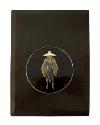 Suzuribako Japanese lacquer. Toba on his mule. School of Ogawa Haritsu