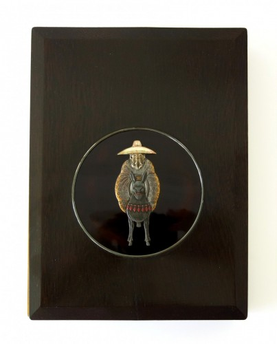 - Suzuribako Japanese lacquer. Toba on his mule. School of Ogawa Haritsu