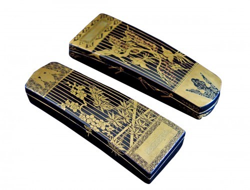 Kôgô - Two small urushi lacquer traditional instruments boxes, Japan Edo