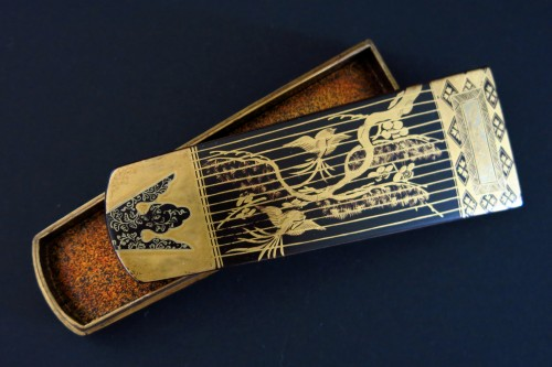 Asian Art & Antiques  - Kôgô - Two small urushi lacquer traditional instruments boxes, Japan Edo