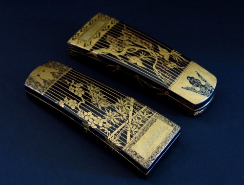 18th century - Kôgô - Two small urushi lacquer traditional instruments boxes, Japan Edo