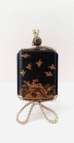 A small japanese lacquer 4 cases Inro, plovers over waves. Japan Edo - Asian Art & Antiques Style