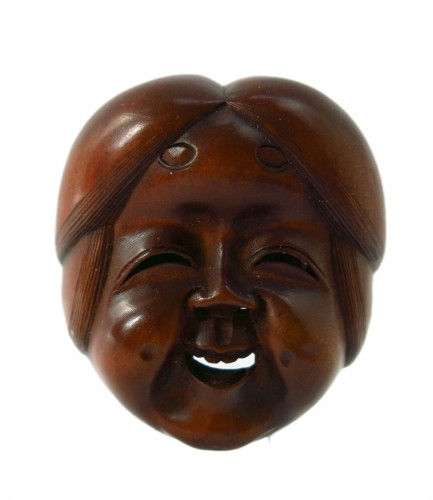 Netsuke – wood mask Netsuke of Okame Japan Edo