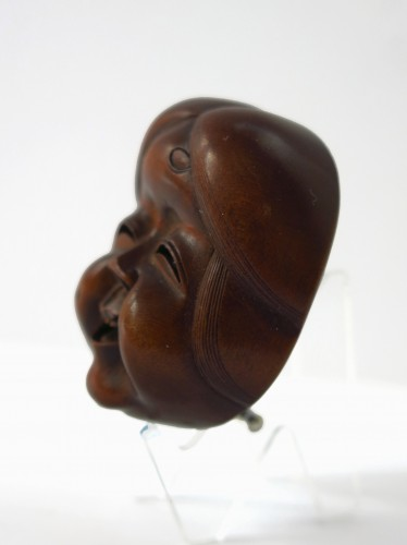 Asian Art & Antiques  - Netsuke – wood mask Netsuke of Okame, Japan Edo