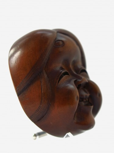 Netsuke – wood mask Netsuke of Okame, Japan Edo  -
