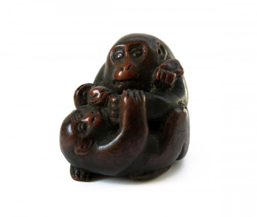 Netsuke or Okimono of monkeys. Japan Edo