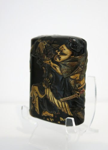 INRO – black japanese urushi lacquer Japan Edo Tadamori and the Oil Thief - Asian Art & Antiques Style