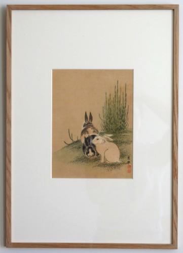 Maruyama Okyo 1733-1795 Tokusa ni Usagi Hares and genister Print Japan