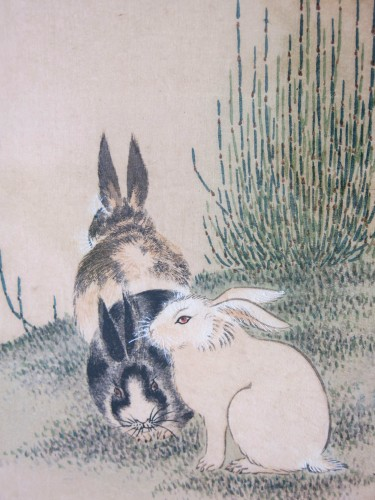 Asian Art & Antiques  - Maruyama Okyo 1733-1795 Tokusa ni Usagi Hares and genister Print Japan