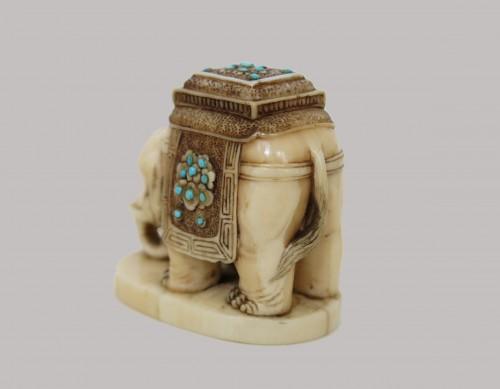 Asian Art & Antiques  - NETSUKE – Elephant on marine ivory. Japan Edo