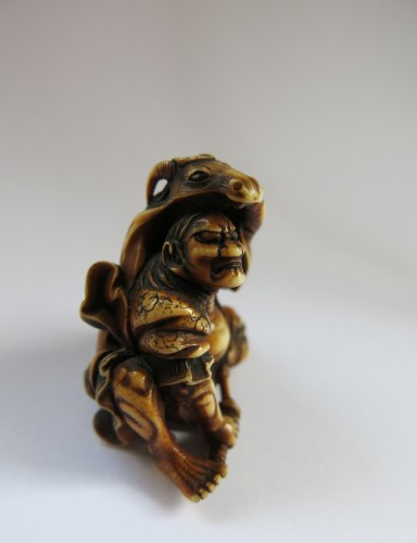 Netsuke Very fine and unusual model of Kidomaru. Japan Edo -