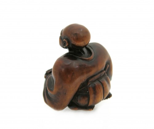 Antiquités - NETSUKE wood carving, theater figure. Japan Edo, 18th century