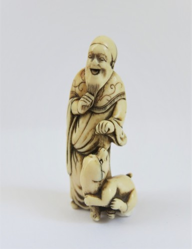 Netsuke – Good model of a chinese sage on ivory. Japan Edo - Asian Art & Antiques Style