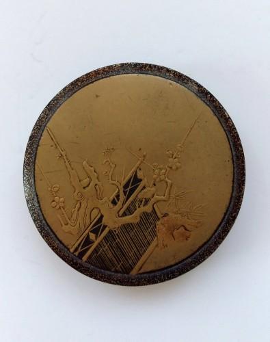 Antiquités - Kôgô - A circular japanese lacquer box for incense Japon