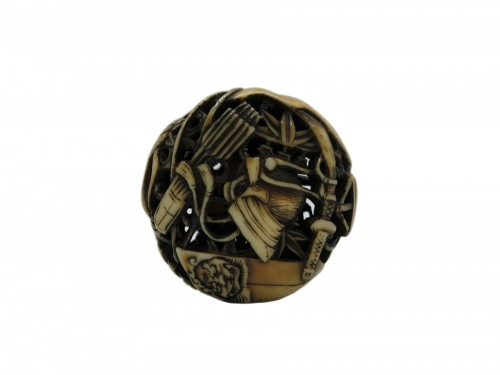 Netsuke  – Manju Netsuke of Samurai armor accessories. Japan Edo
