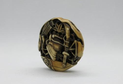 Netsuke  – Manju Netsuke of Samurai armor accessories. Japan Edo - Asian Art & Antiques Style