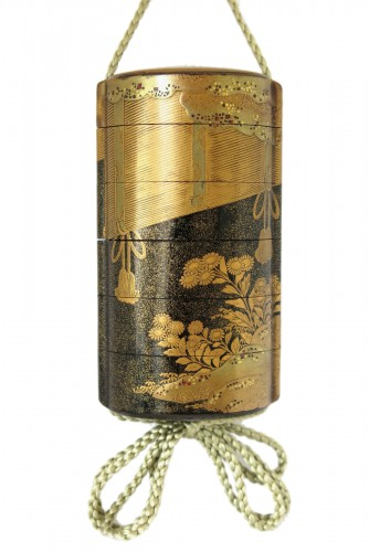 Inro - Gold lacquer of Sudare. Japan Edo