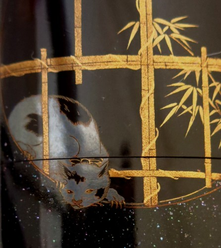 Inro - Japanese lacquer Togidashi, of a cat and rat. Japan Edo - Asian Art & Antiques Style