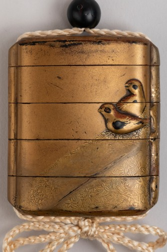17th century - INRO - Birds and rock. Japanese urushi gold lacquer. Japan Edo 17th century