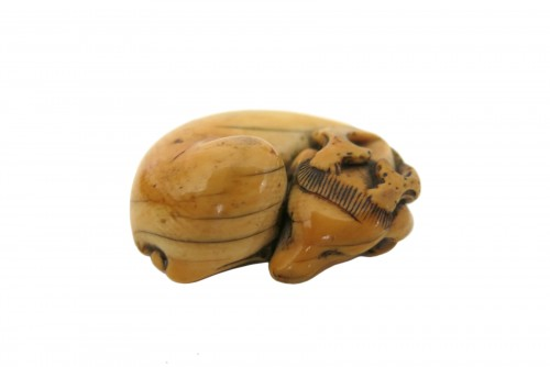 NETSUKE – A charming model of a sleeping stag Japan Edo 18th century