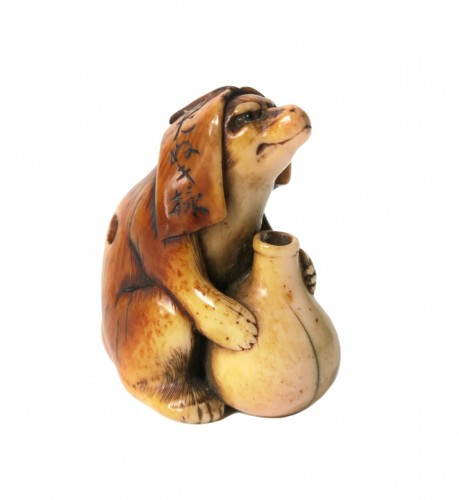 NETSUKE – Unusual and nice model of Tanuki. Japan Edo