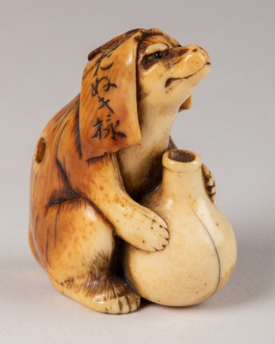 Antiquités - NETSUKE – Unusual and nice model of Tanuki. Japan Edo