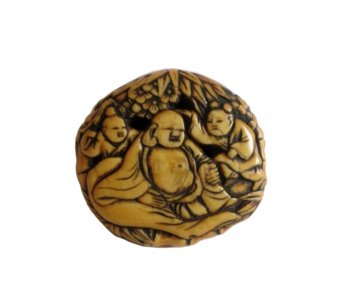 Netsuke - Ryusa Manju Hoteï and Karako. Japan Edo